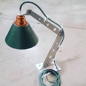 Handmade Industrial Table Top Lamp (WHITE/COPPER/SAGE)